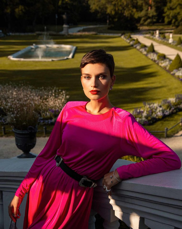 Fashion model wearing Zydrune contemporary jewelry from collection titled Celestial.