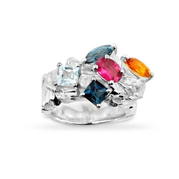 Zydrune Celestial 'Orion Nebula' multi gemstone cocktail ring front view.
