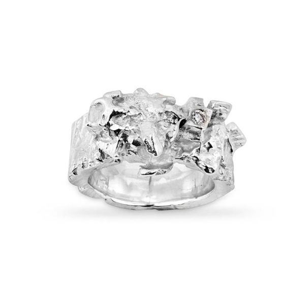 Zydrune Celestial 'Polaris' Silver Diamond ring front view.